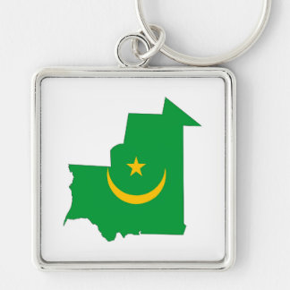 mauritania country flag map shape symbol Silver-Colored square key ring