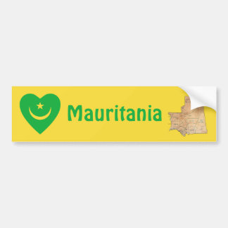 Mauritania Flag Heart + Map Bumper Sticker