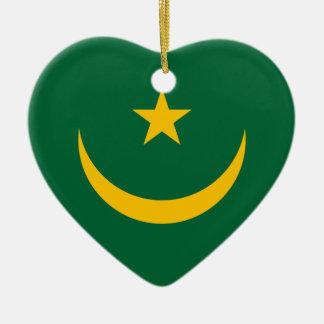 Mauritania Flag Heart Ornament