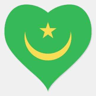 Mauritania Flag Heart Sticker