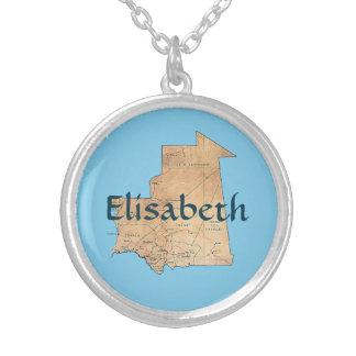 Mauritania Map + Name Necklace