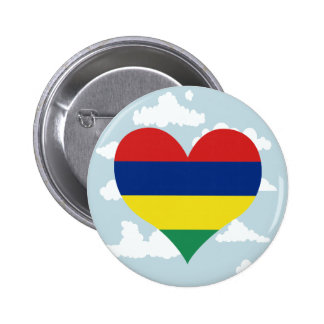 Mauritian Flag on a cloudy background 2 Inch Round Button