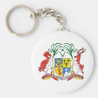 Mauritius Coat Of Arms Basic Round Button Key Ring