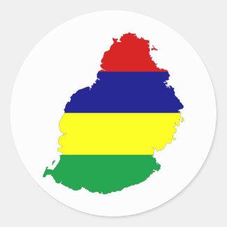 mauritius country flag map shape symbol classic round sticker
