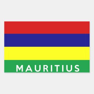 mauritius country flag symbol name text rectangular sticker