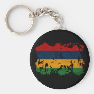Mauritius Flag Basic Round Button Key Ring