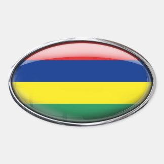 Mauritius Flag Glass Oval Oval Sticker