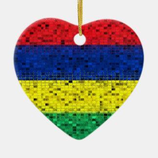 Mauritius Flag glitter ornament
