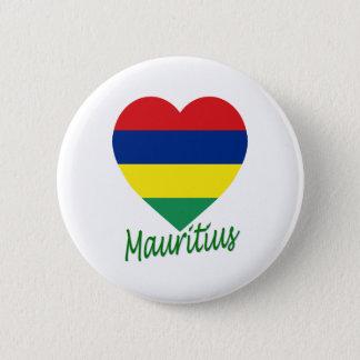 Mauritius Flag Heart 6 Cm Round Badge