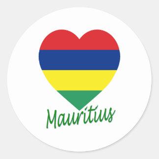 Mauritius Flag Heart Classic Round Sticker