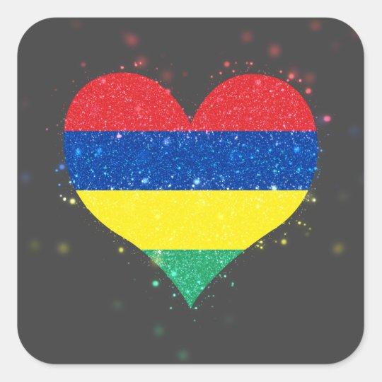 Mauritius Flag Shining Beautiful Square Sticker