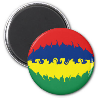 Mauritius Gnarly Flag 6 Cm Round Magnet