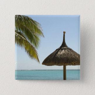 Mauritius. Idyllic beach scene with umbrella 15 Cm Square Badge