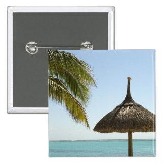 Mauritius. Idyllic beach scene with umbrella 15 Cm Square Badge