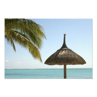 Mauritius. Idyllic beach scene with umbrella Photo Print