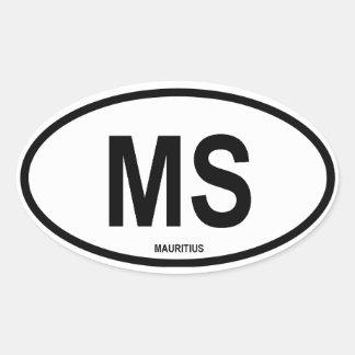 "Mauritius ""MS"" Oval Sticker"