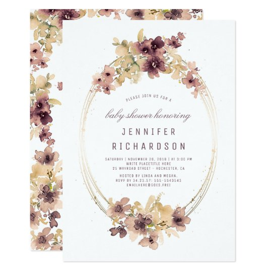 Mauve and gold vintage floral baby shower invitation zazzle mauve and gold vintage floral baby shower invitation filmwisefo