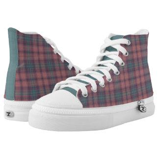 Mauve and Grayish Plaid High Top Sneakers
