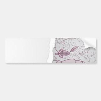 mauve and grey flower line art design bumper sticker