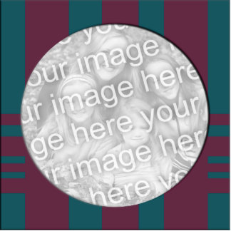 mauve and teal stripes photo frame standing photo sculpture
