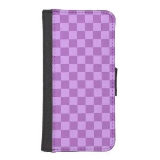 Mauve and Violet Purple Vintage Checkered Squares Phone Wallet