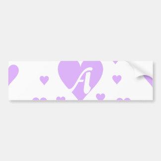 Mauve and White Hearts Monogram Bumper Sticker