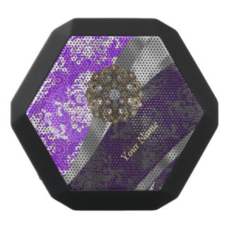 Mauve and white vintage damask pattern black bluetooth speaker