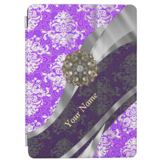 Mauve and white vintage damask pattern iPad air cover