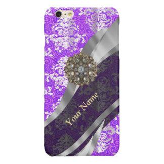 Mauve and white vintage damask pattern iPhone 6 plus case