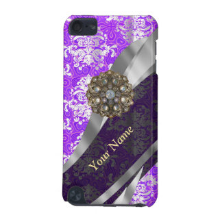 Mauve and white vintage damask pattern iPod touch 5G case