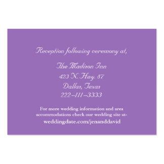 Mauve and White Wedding enclosure cards Business Cards