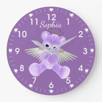 Mauve Angel Bear Large Clock
