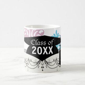 mauve aqua blue white damask graduation mug