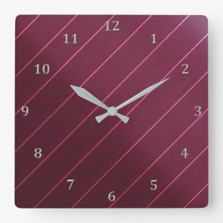Mauve Berry Wine Diagonal Pin Stripe Gray Numbers Square Wall Clock
