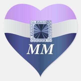 Mauve blue any occasion monogram sticker