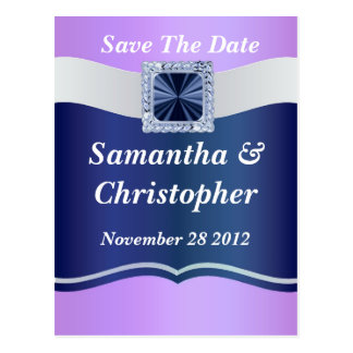 Mauve & blue any occasion save the date postcard