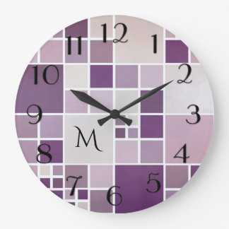 Mauve Checkered Pattern Monogram Wall Clock