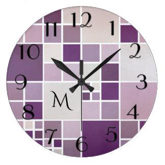Mauve Checkered Pattern Monogram Wall Clock