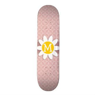 Mauve Circles Spring Daisy Skate Board Deck