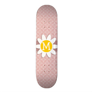 Mauve Circles; Spring Daisy Skate Board Deck