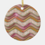Mauve, Coral and Gold Zig Zags Christmas Tree Ornament