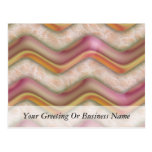 Mauve, Coral and Gold Zig Zags Post Card