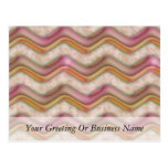 Mauve, Coral and Gold Zig Zags Postcard