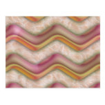 Mauve, Coral and Gold Zig Zags Postcards