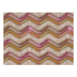 Mauve, Coral and Gold Zig Zags Print