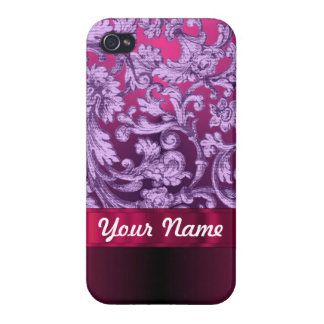 Mauve damask floral pattern on magenta iPhone 4/4S cover