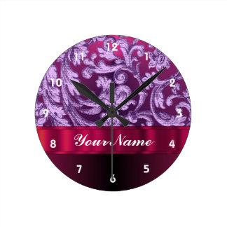 Mauve damask floral pattern on magenta round clock