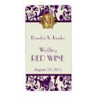 Mauve Damask Monogram Wedding Mini Wine Labels