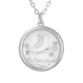 Mauve Figure Skate Custom Gift for Figure Skater Silver Plated Necklace