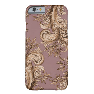 Mauve Floral Swirl Engraving Barely There iPhone 6 Case